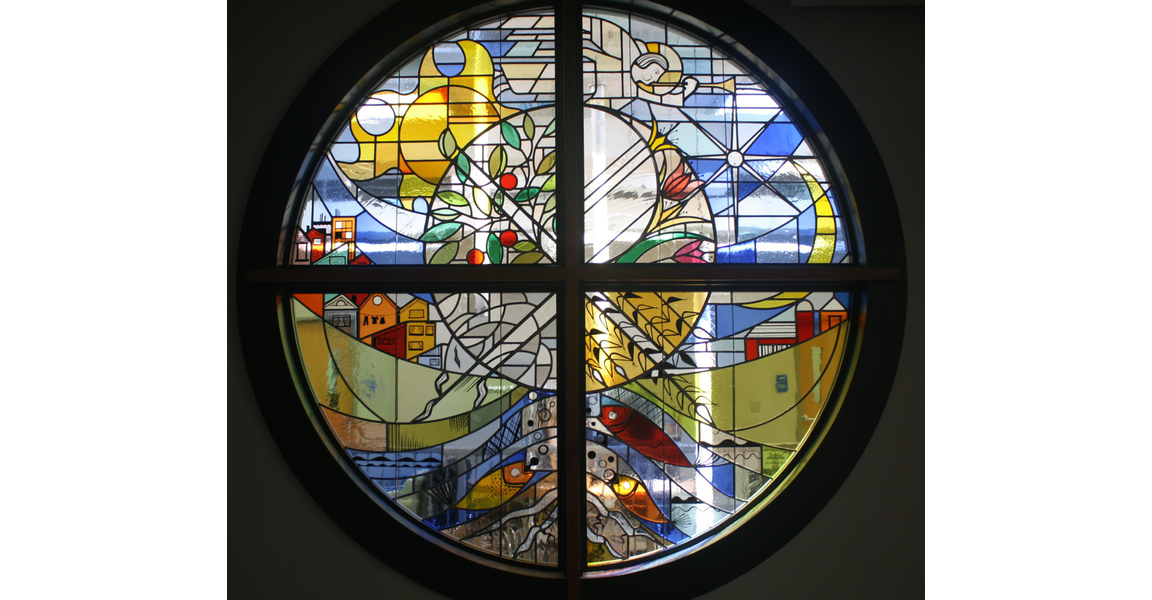 Chapel Stained Glass Window 7 feet diameter (in collaboration wih Schickel Design)