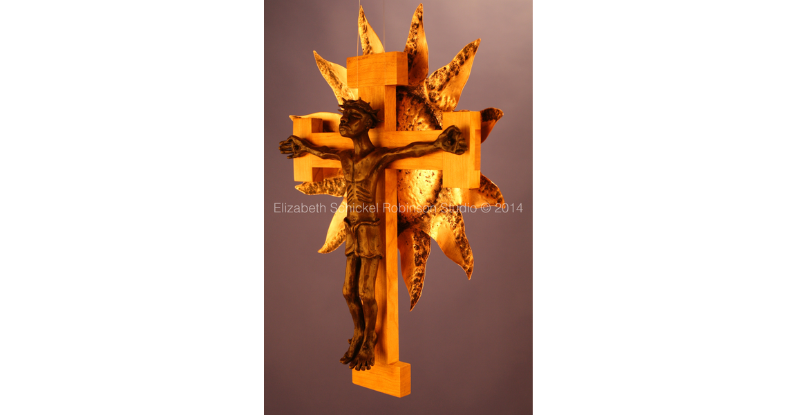 Commissioned Bronze Crucifix on Hardwood with Pounded Copper Sun.jpg